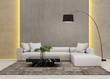 Contemporary grey concrete living room with hidden light - 81878282