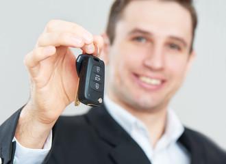 business happy man holding car keys
