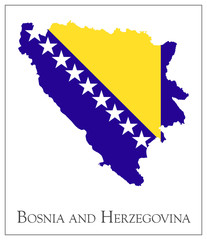 Bosnia and Herzegovina flag map