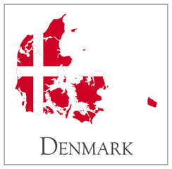 Denmark flag map