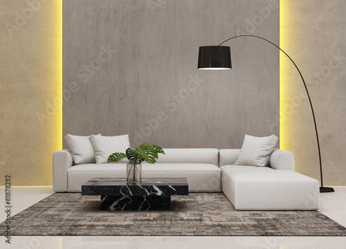 Contemporary grey concrete living room with hidden light - 81878282