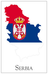 Serbia flag map