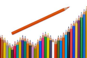 Buntstifte Farbstifte zeigen Umsatz und Steigerung