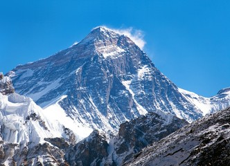 Top of Mount Everest from Gokyo valley