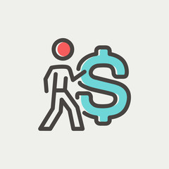 Man with big dollar symbol thin line icon