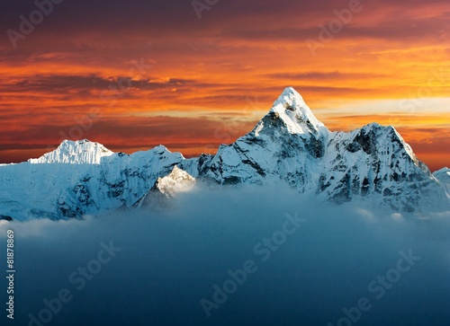 Poster Nepal Evening view of Ama Dablam