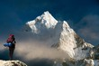 Evening view of Ama Dablam with tourist - 81879037