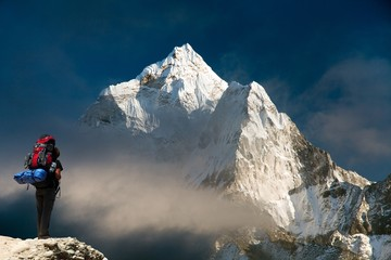 Evening view of Ama Dablam with tourist