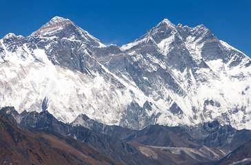view of Mount Everest, Nuptse rock face, Lhotse