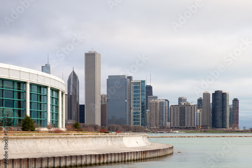 Fotobehang Grote meren Chicago Skyline and Shedd Aquarium
