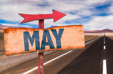 May sign with road background