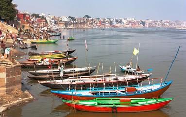 View of Varanasi with boats on sacred Ganga River