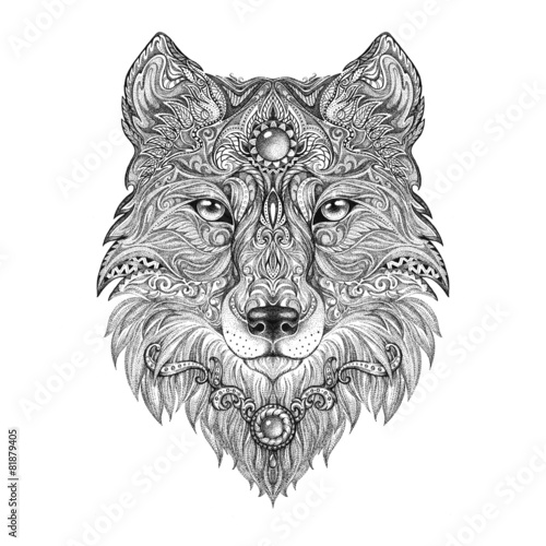 Tattoo head wolf wild beast of prey - 81879405