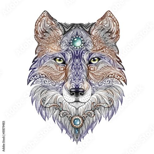 Tattoo head wolf wild beast of prey - 81879483