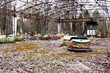 Abandoned amusement park in Pripyat ghost town, Chernobyl - 81879885