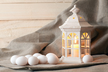 candle lantern and eggs