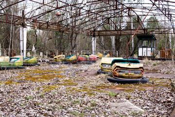 Abandoned amusement park in Pripyat ghost town, Chernobyl