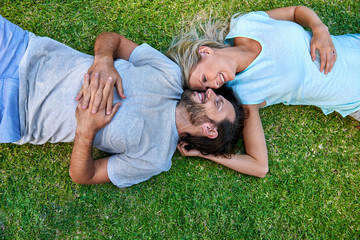 grass laying couple