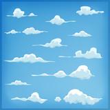 Cartoon Clouds Set On Blue Sky Background - 81880669