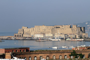Ancient fortress on Mediterranean Sea. Naples, Italy