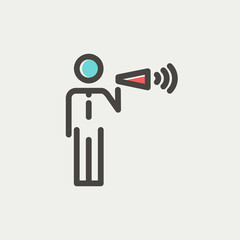 Man with megaphone thin line icon
