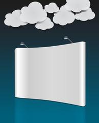 pannello pubblicitario con nuvole e cielo