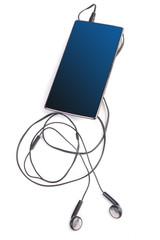 earphones and smartphone isolated
