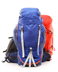 Large touristic backpacks isolated on white