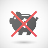 Not allowed icon with a piggy bank