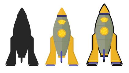 Space rocket in three versions