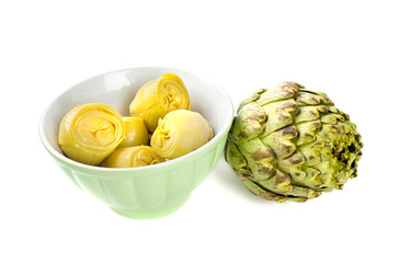 canned artichokes isolated on white