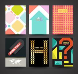 Vector brochure cover template design set.