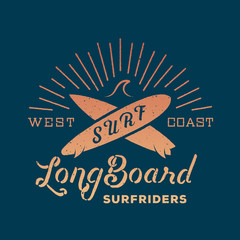 Long Board Surf Riders Abstract Retro Vector Label or Logo