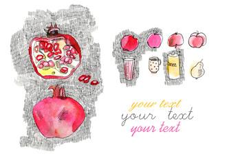 drawing pomegranate