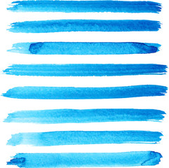 Set of bright blue brush strokes