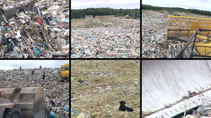 Special equipment work and people in dump. Video clips collage