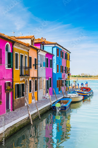 Painted houses of Burano, in the Venetian Lagoon, Italy. Poster