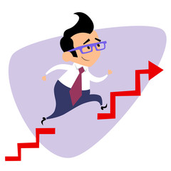 Businessman takes a step over the obstacle graph of sales busine