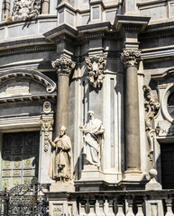 St. Peter cathedral church statues of saints. Catania, Sicily, I