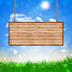 Wood Table on Chains Spring Background