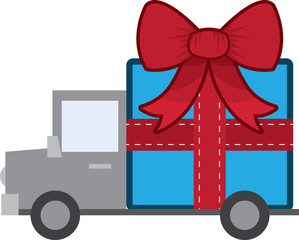 Large wrapped gift on the back of a truck
