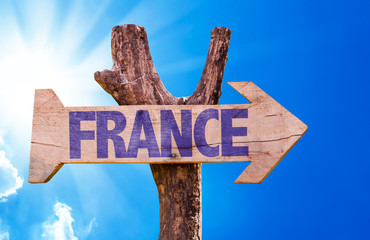France wooden sign with sky background