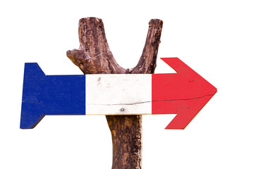 France Flag wooden sign isolated on white background