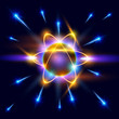 model of the atom and blue sparks around