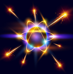 model of the atom and sparks around