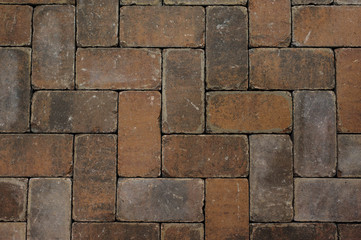 Red brick paving stones texture