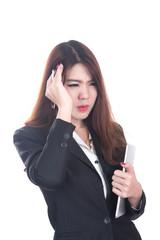 injured business woman with headache, migraine, stress