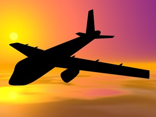 Airbus silhouette on sunset background.