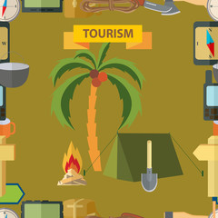 Seamless illustration. Tourism.