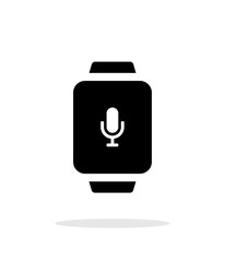 Microphone in smart watch simple icon on white background.